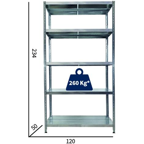 Misure Ripiani Scaffali Metallici.Scaffali In Metallo 5 Ripiani Cm L120xp50xh234 Alta Portata Zincato