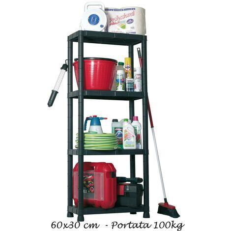 Sistemazione Merce Sugli Scaffali.Scaffali In Resina 4 Ripiani 60x30 Plastica Dispensa Libreria