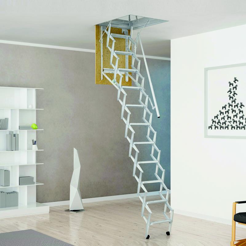 Scala retrattile panto per soffitta con corrimano for Arredamenti onlywood