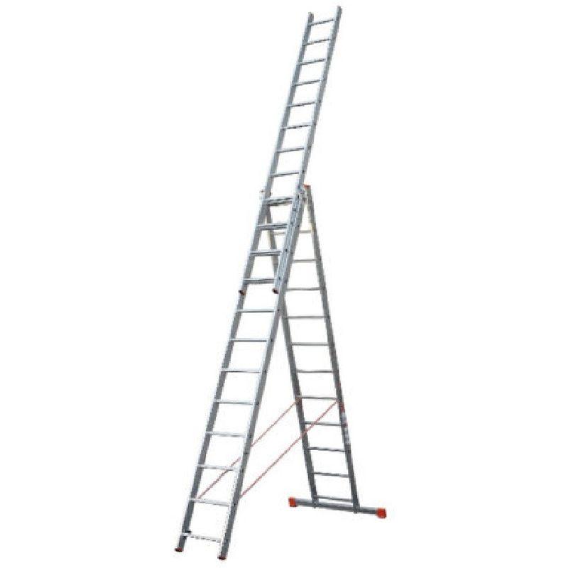 Scala trasformabile a 3 elementi rampe in alluminio a sfilo 3x9 gradini