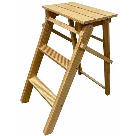 """main image of """"scaletta in legno di faggio 3 gradini, 55x60x32 cm"""""""