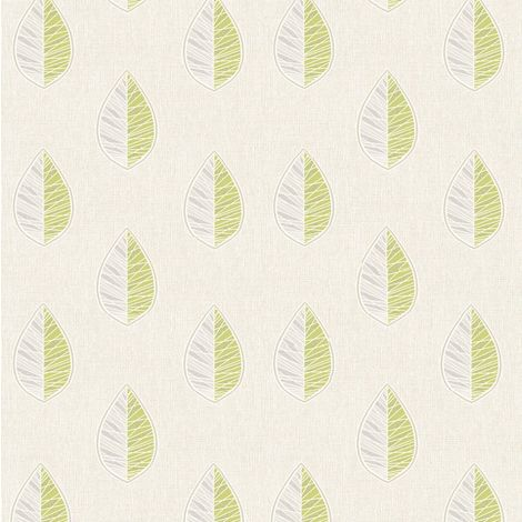 Scandi Leaf Abstract Floral Wallpaper Green Silver Glitter Textured Vinyl Crown