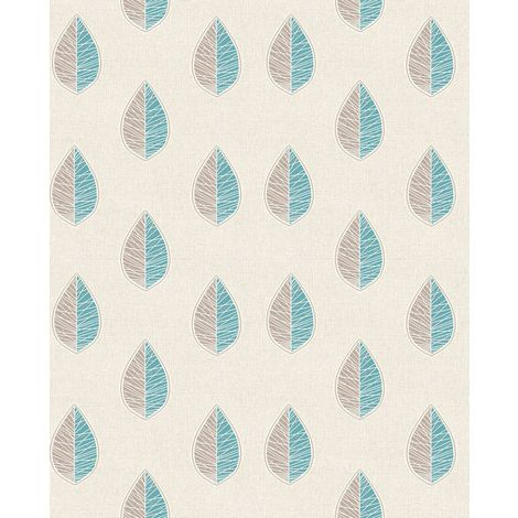 Scandi Leaf Abstract Floral Wallpaper Teal Silver Glitter Textured Vinyl Crown