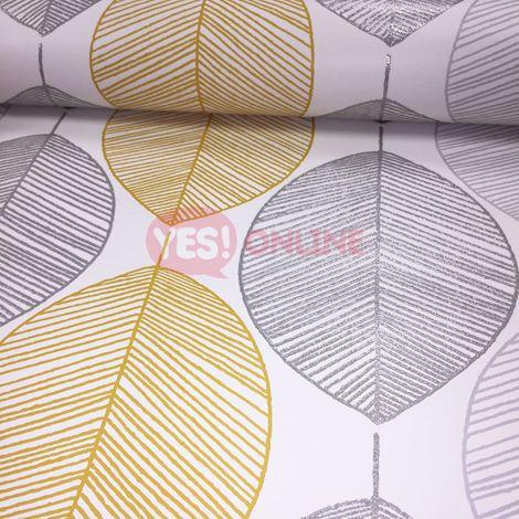 Scandi Leaf Wallpaper Leaves Glitter Metallic Silver Yellow White Arthouse