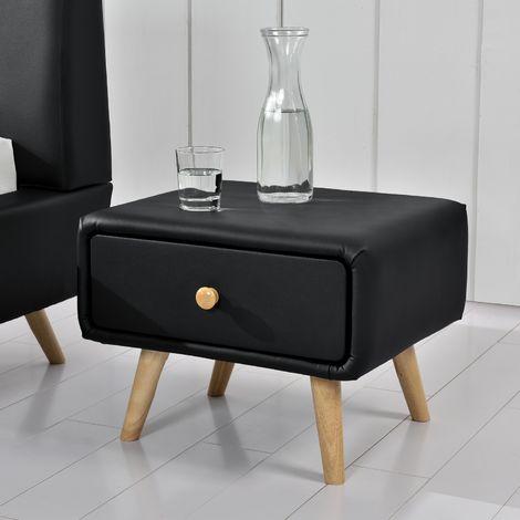 Scandi noir : table de chevet scandinave noir avec 1 tiroir et 4 pieds en bois