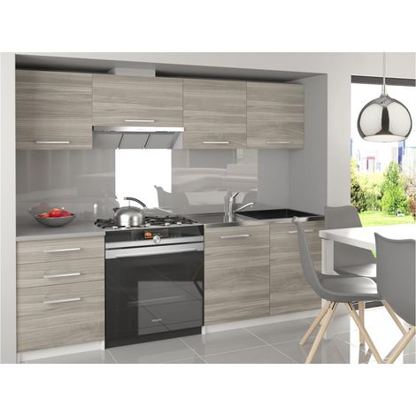 SCANDIK | Cuisine Complète Modulaire Linéaire L 180/120 cm 5 pcs | Plan de travail INCLUS | Ensemble armoires meubles cuisine | Silver - Silver