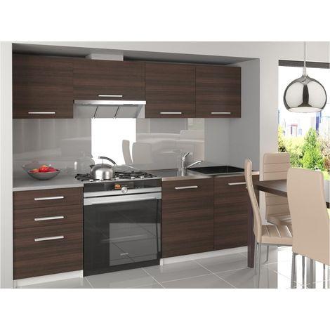 SCANDIK - Cuisine Complète Modulaire Linéaire L 180/120 cm 5 pcs - Plan de travail INCLUS - Ensemble armoires moderned cuisine - Châtaigne