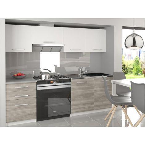 SCANDIK - Cuisine Complète Modulaire Linéaire L 180/120 cm 5 pcs - Plan de travail INCLUS - Ensemble armoires placards cuisine - Blanc-Silver