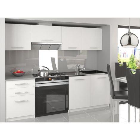 SCANDIK   Cuisine Complète Modulaire Linéaire L 180/120cm 5 pcs   Plan de travail INCLUS   Ensemble armoires meubles cuisine   Blanc