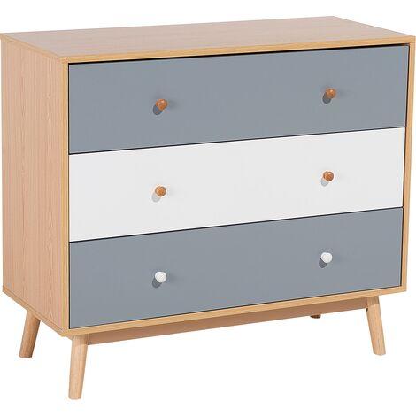 Scandinavian Bedroom Storage Chest 3 Drawers Wood Finish Living Room Brown Mesam