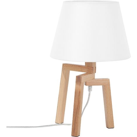 "main image of ""Scandinavian Bedside Reading Lamp Tripod Creative Unique Light Wood White Nalon"""