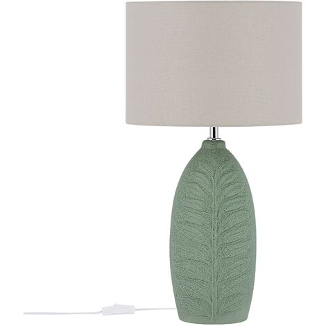 Scandinavian Ceramic Bedside Table Lamp Green with Grey Drum Shade Ohio