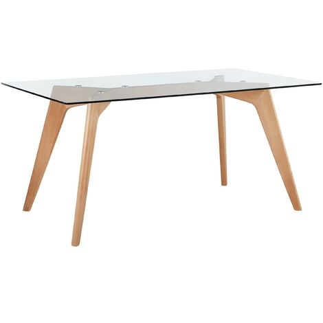 Scandinavian Dining Table Transparent Glass Tabletop Solid Wood Flared Legs Hudson