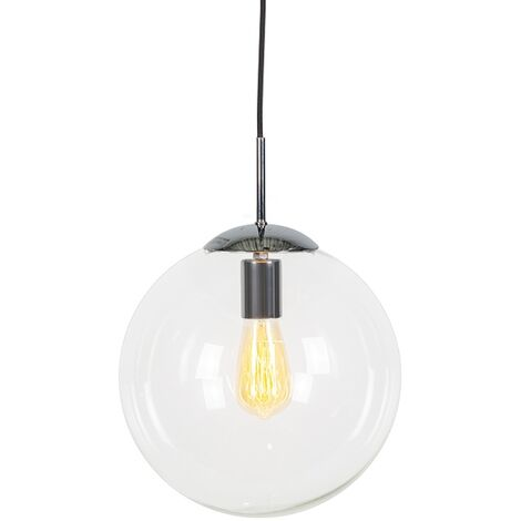 Scandinavian hanging lamp chrome with clear glass - Ball 30