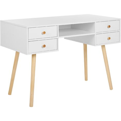 Scandinavian Home Office Desk 4 Storage Drawers Light Solid Wood Legs Levin