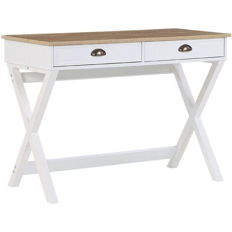Scandinavian Home Office Desk White Light Wood Cross Legs 2 Drawers Study Ekart