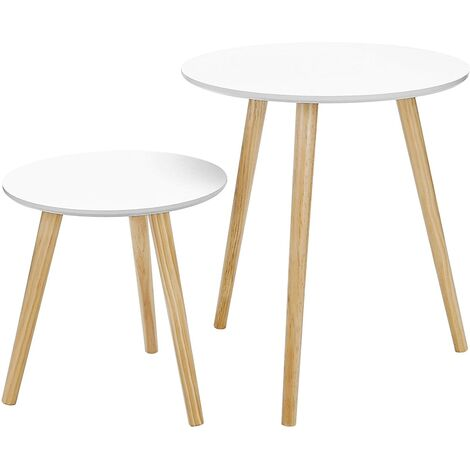 Scandinavian Nesting Side Table, Set of 2 Round End Table, Coffee Table with Solid Pine Legs, Nature White, LET07WN