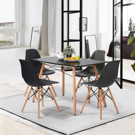 Scandinavian rectangular dining table for 2 to 4 people - Legs in black and solid lacquered beech - 110 x 70 x 72cm