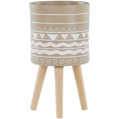 """main image of """"Scandinavian Tall Ceramic Planter Wooden Legs Beige with White Pattern Milina"""""""