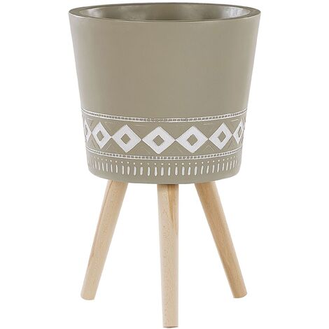 """main image of """"Scandinavian Tall Ceramic Planter Wooden Legs Taupe with White Pattern Arta"""""""