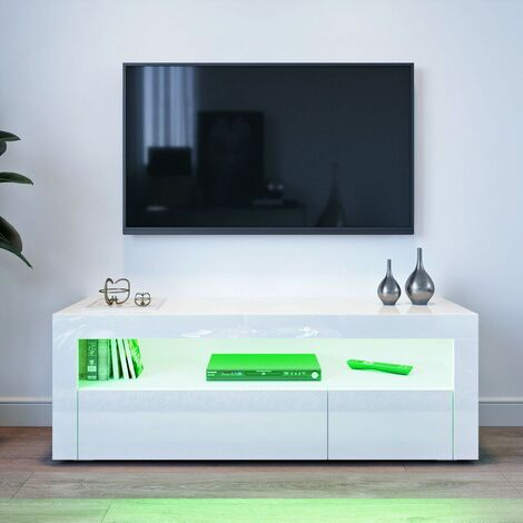 Scandinavian TV cabinet with LED 120 * 35 * 45cm White LAVENTE