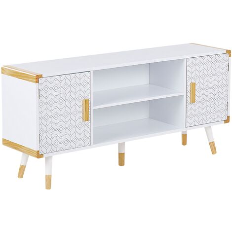 Scandinavian TV Stand Cabinet for 53ʺ TV Shelves Storage Wooden White Banes