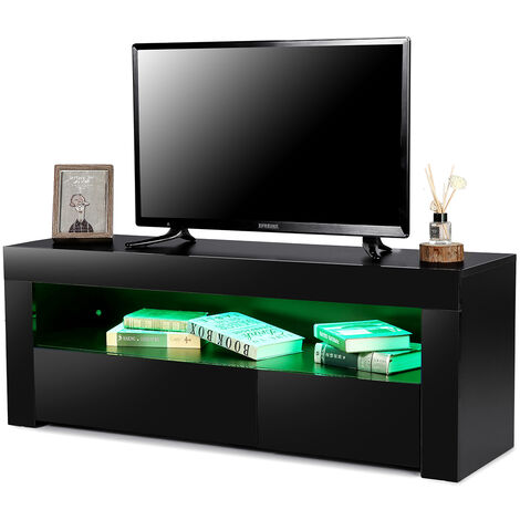 Scandinavian TV stand with LED 120 * 35 * 45cm Black