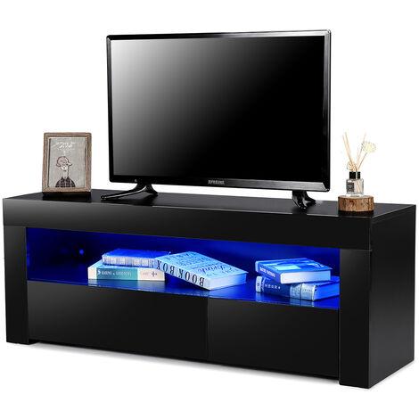 Scandinavian TV stand with LED 120 * 35 * 45cm Black Sasicare