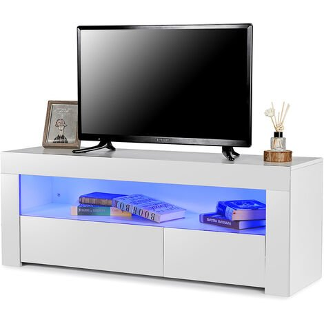 Scandinavian TV stand with LED 120 * 35 * 45cm White
