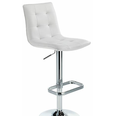 Scapon White Bar Stool Button Hole Seat Height Adjustable White