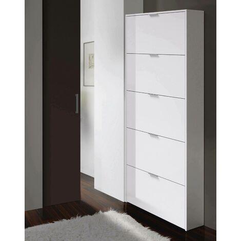 """main image of """"Scarpiera a cinque ante con apertura a ribalta, colore bianco lucido, cm 70 x 180 x 17."""""""