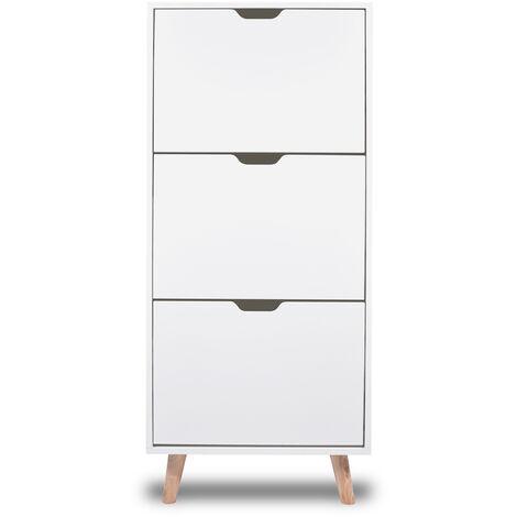 Scarpiera Bianca da Design Nordico a 3 ripiani con piedi in legno di pino