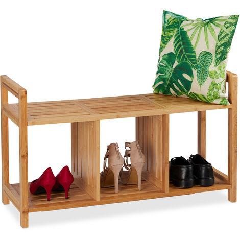 Scarpiera a 2 ripiani in legno corridoio con seduta imbottita in PU Zerone per ingresso casa 40,5 x 30,2 x 42 cm