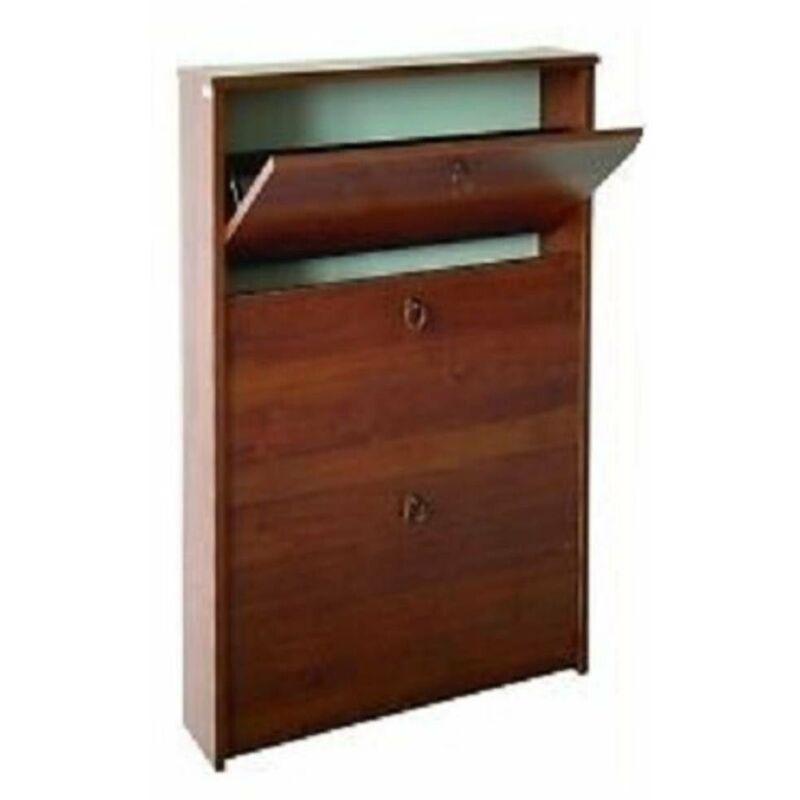 Scarpiera in kit di legno melamminico misura 65x15x108 cm noce arte povera