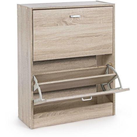 Scarpiera in legno con 2 ante a ribalta 63x24xh81cm arredo ...