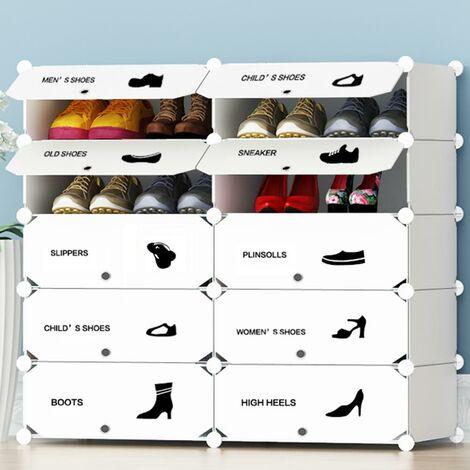 "main image of ""Scarpiera Modulare 10 Cubi Mobile Porta Scarpe Componibile 20 Paia Salvaspazio"""