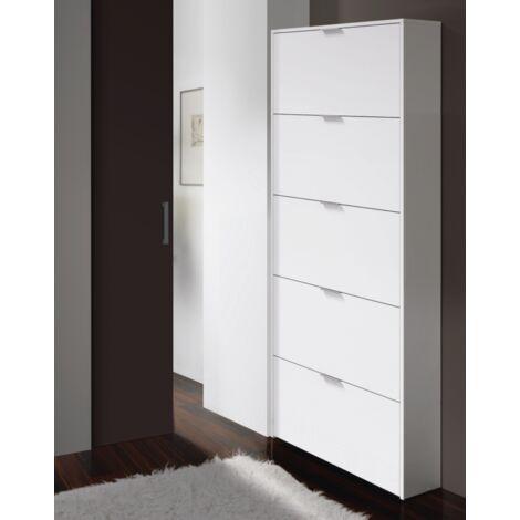 Scarpiera salvaspazio 180 cm Bianco lucido 5 ribalte   Bianco