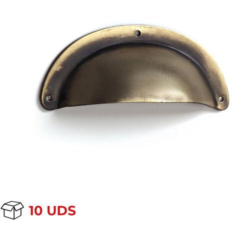 Scatola con 10 maniglie a conchiglia, Acciaio, Bronzo Antico, 72mm interasse. Marchio REI