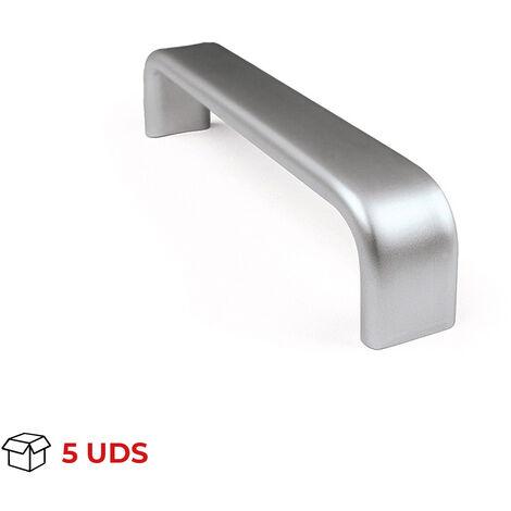 Scatola da 5 maniglie in stile moderno, Alluminio, Anodizzato Opaco, 224 mm interasse. Marchio REI