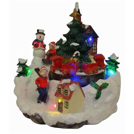 Scène de Noël bonhomme de neige animée et lumineuse - A pile