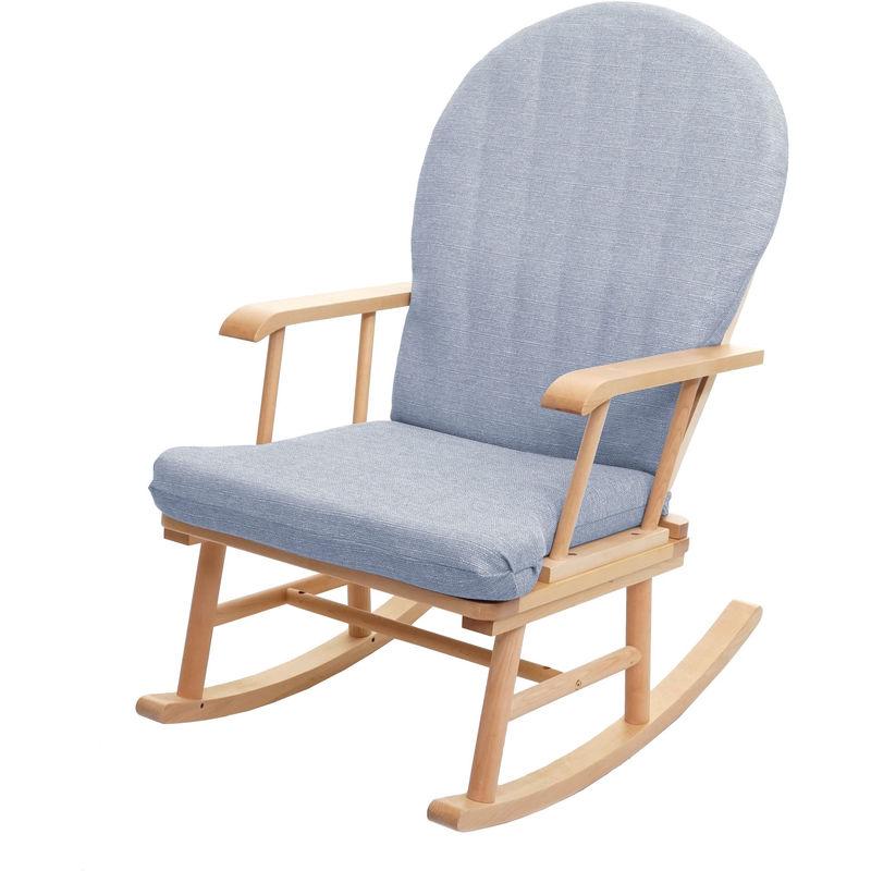 Schaukelstuhl HHG-683, Schwingstuhl Relaxsessel Schaukelsessel, Massivholz Stoff/Textil ~ grau, Gestell naturfarben