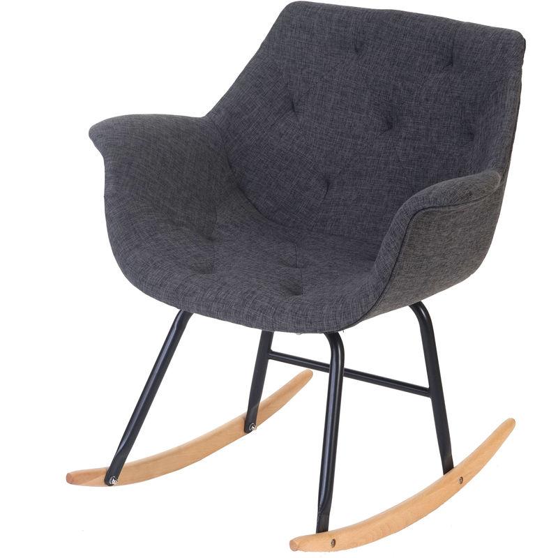 Schaukelstuhl Vaasa T820, Schwingsessel Relaxsessel ~ Textil, grau