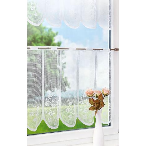 Scheibengardinen SET Blumenranken (Bx H) 150cm * 30/50cm weiß 17793-51823