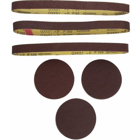 Scheppach Schleifbänder/Schleifpapier-Satz 12tlg für Band und Tellerschleifer, 3903301707