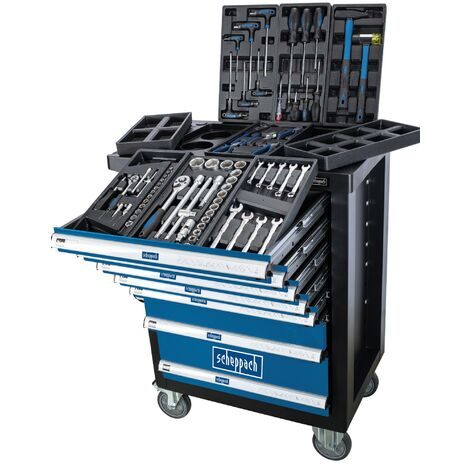 SCHEPPACH TW1100 TOOL ROLLER CABINET WITH 70 TOOLS 7 DRAWERS WORKSHOP STORAGE
