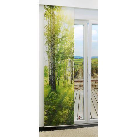 Schiebegardine - Birkenhain lichtdurchlässig mit Motiv in den Maßen 245 cm x 60 cm grün/maigrün 461-930