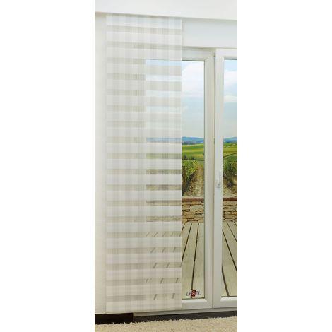 Schiebegardine - Tag und Nacht variabel mit Karomuster in den Maßen 245 cm x 60 cm weiß/wollweiß 852-1409