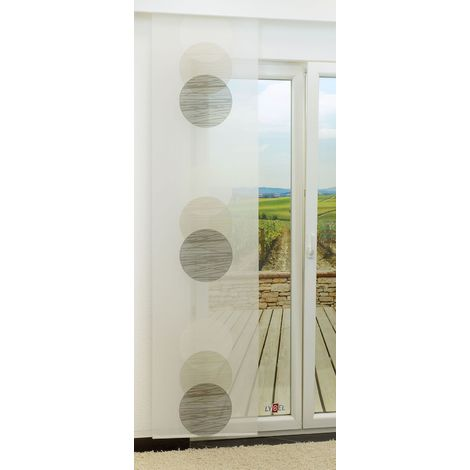 Schiebegardine - Venn halbtransparent mit Kreisen in den Maßen 245 cm x 60 cm grau/beigegrau 847-1404