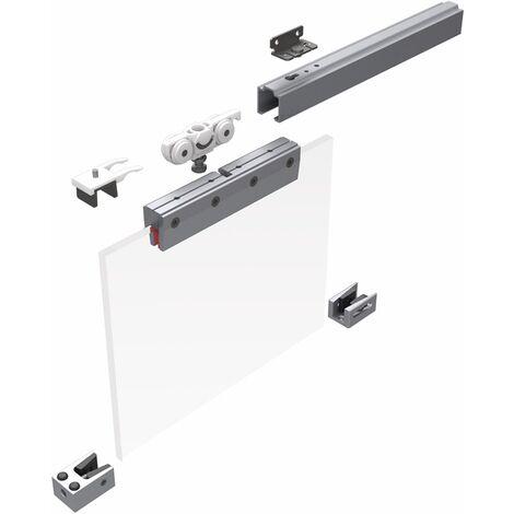 Schiebesyst.73 80kg 2100mm Edelstahleffekt GLT 8/10mm Kompletts.