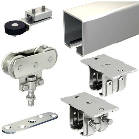 Schiebetorbeschlag SLID'UP 1700-80 mit Stahl-Laufschiene 390 cm (2x 195 cm) und Stahlrollen, Deckenmontage, 1 Tor bis 80 kg